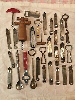 Large Vintage Bottle Opener / Corkscrew Lot Made In U.S, France, Etc.