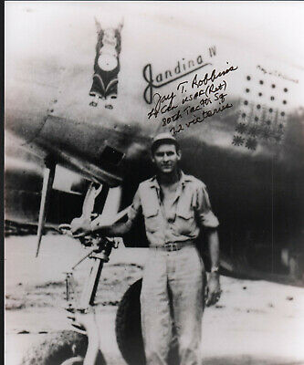 "RARE 8x10"" SIGNED ""JAY ROBBINS"" 22 KILL P-38 PILOT ACE WITH EXTRA INFO. ADDED!"