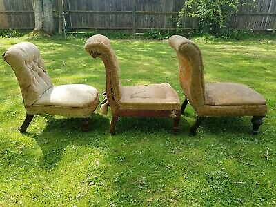 3 X Antique Victorian Slipper Bedroom Chairs