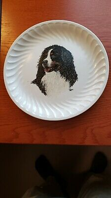 "Bernese Mountain Dog Hand Painted 10"" Diameter Ironstone Plate Collectible"