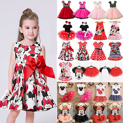 Baby Girls Kids Minnie Mouse Princess Tutu Birthday Party Summer Dress Outfits