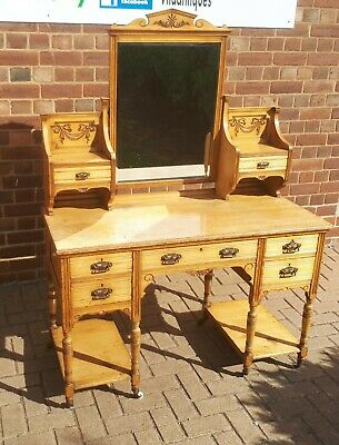 Beautiful Late Victorian Ornate Dressing Table Light Oak? Bows & Swags