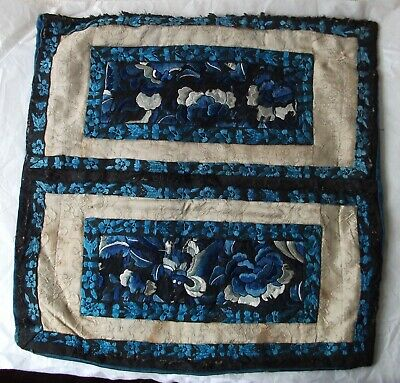 Antique - Chinese Silk Embroidery & Brocade - Bat and Flowers - Cushion - Cuffs?