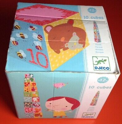 Djeco 10 Cubes Toddler 12 Month Baby Stacking Boxes Numbers Animals Forest Kids