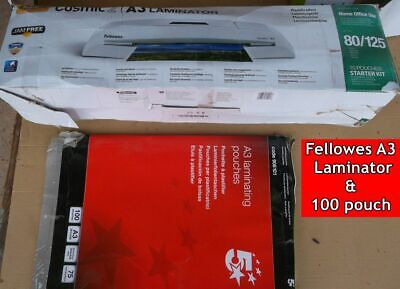 Fellowes large A3 Cosmic 2 Laminator & 100 x 75 micron pouches New seconds