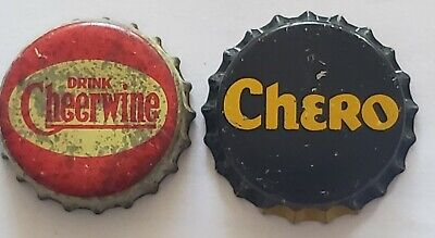 Chero (Unused) and Cheerwine (Used) Cork Lined Soda Bottle Caps