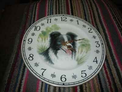 Border Collie Porcelain Wall Clock Louise Wilde Staffordshire England