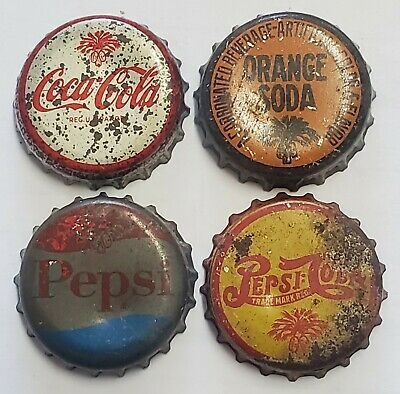4 SC Tax Stamp Cork Lined Soda Bottle Caps; Orange, 2 Pepsi, Coca-Cola; Used
