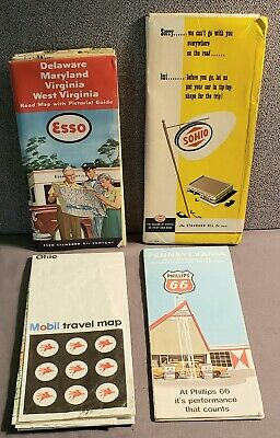 Vintage Gasoline Stations Maps & Extras Sohio Phillip's 66 Mobil Esso Lot of 4
