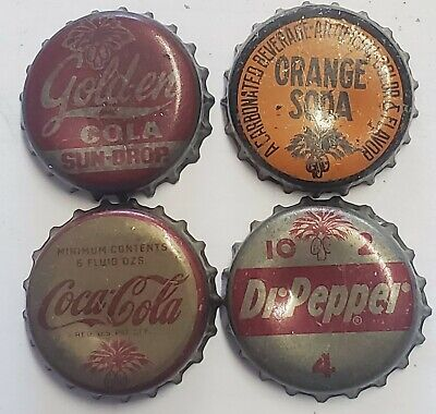 4 SC Tax Stamp Cork Lined Soda Bottle Caps; Orange, Sundrop, DP, Coca-Cola; Used