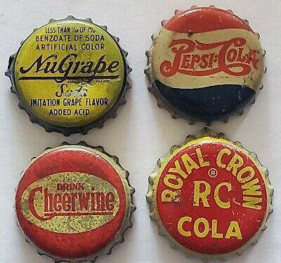 4 Cork Lined Soda Bottle Caps; Nugrape. Cheerwine, RC Cola, Pepsi-cola; Used