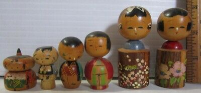1960s 1950s Vintage Japanese Kokeshi Wood Doll Nodder Bobble Head handmade LOT