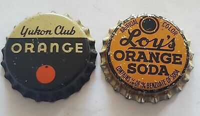 2 Nice Orange Cork Lined Soda Bottle Caps; Yukon Club (NY), Loy's (NC); Unused