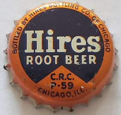 Hires Root Beer 1959 Passover Cork ork Lined Soda Bottle Cap; Chicago IL; Used