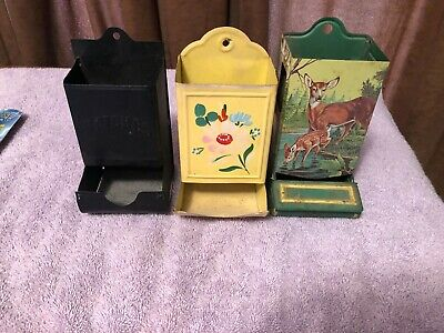 Vintage Match Box Stick Holder YELLOW Floral Wall Mount Tin Metal PLUS 2 MORE