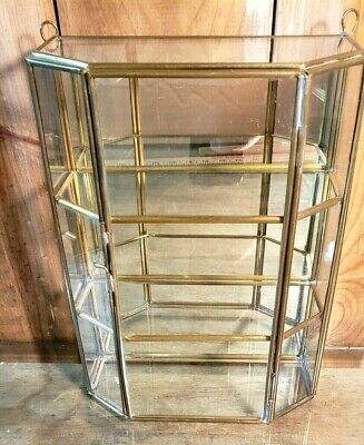 """Display Cabinet 10"""" Tall Glass & Brass Curio 3 compartments Vintage"""