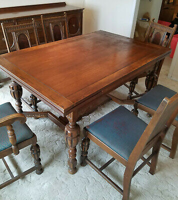 Vintage JACOBEAN Style DINING Set and SIDE BOARD + 6 Chairs