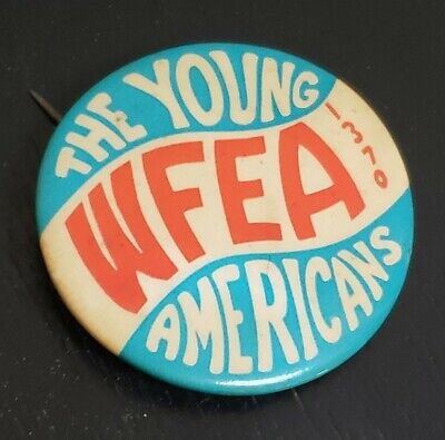 1960s WFEA 1370AM Radio Station Young Americans Manchester NH Vintage Button