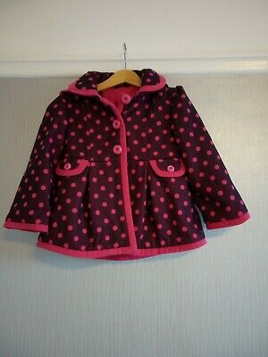 Girls Smart Pink Spotty Coat Age 3-4