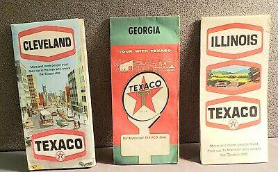Vintage Texaco Gasoline Stations Maps Lot of 3