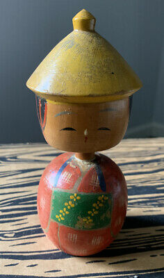 Vintage japanese wooden kokeshi doll bobble head doll 4 Inches