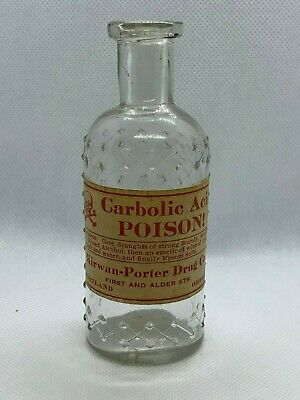"""Clear Lattice KC-1 Glass Poison Bottle WITH Label - 4 & 3/8"""" - Carbolic Acid"""