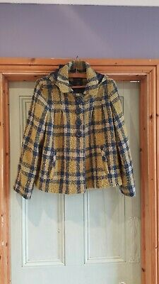 Next Age 13/14 Height 164cm Girls Green an Blue Checked Coat with Hood