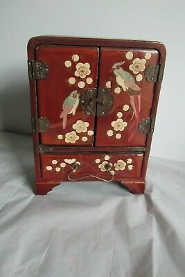 Antique Original Japanese Chinese Red Lacquer Cabinet Chinoisiere Birds Flowers