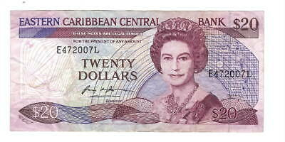EASTERN CARIBBEAN $20 Dollars (1988) P-24l1 St LUCIA VF Banknote Signature 1