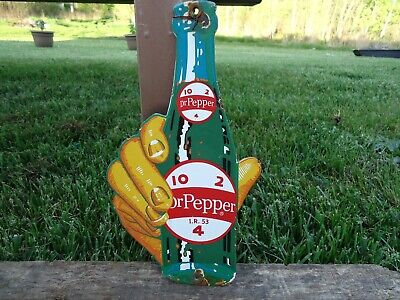 Old Vintage Dated 1953 Dr. Pepper 10-2-4 Porcelain Gas Station Door Sign