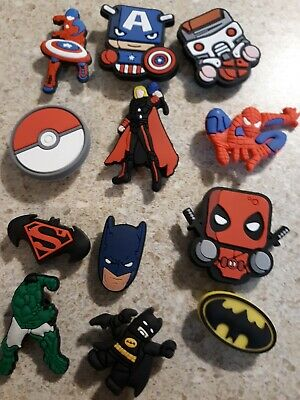 Lot of 12 Super Hero charms  for Croc shoe Craft, Scrapbook or cake decorating *