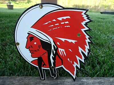 Old Indian Chief Gasoilne-Oil Porcelain Enamel Gas Station Door Sign Die Cut