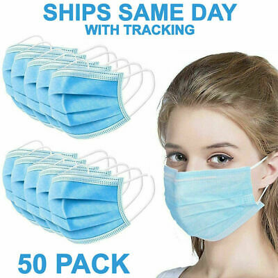 100PCS  3-Ply Disposable Face Mask Non Medical Surgical Earloop