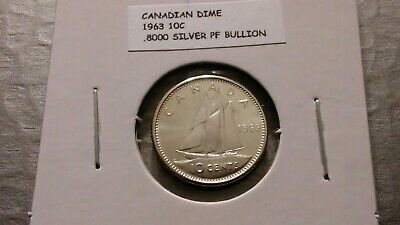 1963 10c Silver Proof Canadian Dime 5811 Toning