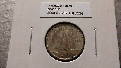 1952 10c Silver Canadian Dime 5948