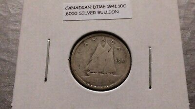 1941 10c Silver Canadian Dime 4796