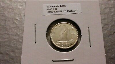 1965 10c Silver Proof Canadian Dime Toning 3745