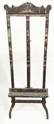 Antique Painting Easel Victorian Walnut Wood Studio Display Ornate Carved RARE