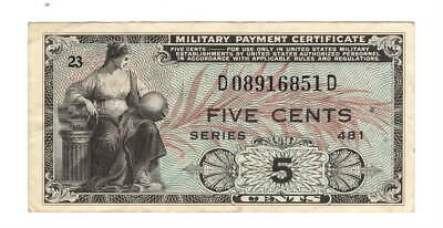 United States of America Military Payment Certificate 5 cents VF Series 481 USA