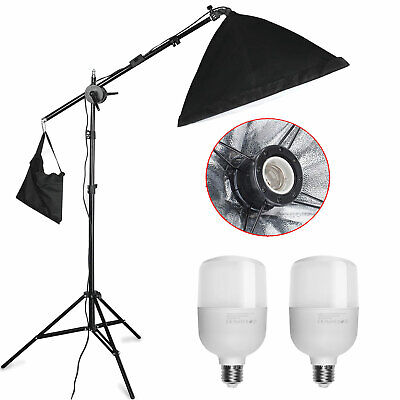 Photography Studio 2x25W LED Softbox Continuous Lighting Kit + Boom Arm Stand