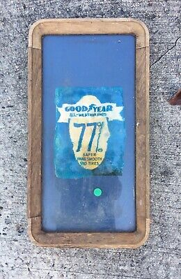 Vintage Goodyear Tire Advertisement In Solid Wood Frame, Water Damage 11.5 X21.5