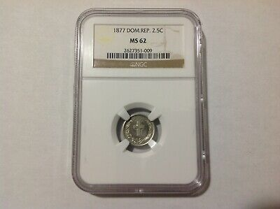1877 NGC MS62 Dominican Republic 2-1/2 Centavos . Rare in MS .