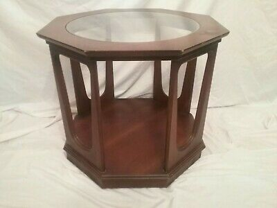 Vintage Modern Walnut Octagon End Table Round w Glass Top Andrean Peasall Style