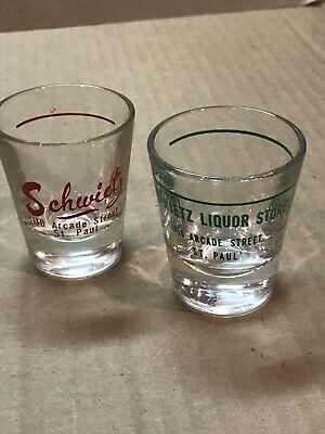 Vtg Schwietz Liquor Store Arcade St St Paul MN East Side Shot Glass Lot Of 2