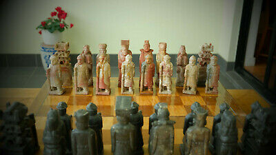 Chess set Asian Chinese Korean Large Carved Stone  antique