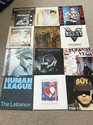 """INSTANT STARTER RECORD COLLECTION 12 X 7"""" VINYL RECORDS ALL 80s PICTURE SLEEVES"""