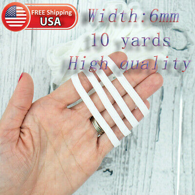 "10 Yards 1/4"" 6mm Elastic - Black or White - For DIY Face Mask - FREE SHIPPED"