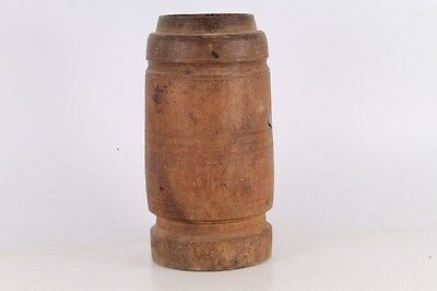 Antique Primitive Old Hand Carved Big Wooden Mortar For Spices.