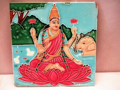 Antique Tile Ceramic Porcelain Laxmi Raja Ravi Varma Painting Subject Collect*89