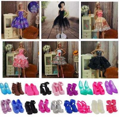 Doll Clothes Accessories 3 Dress Skirt 5 Pair Shoes Boot For Barbie Good Quality